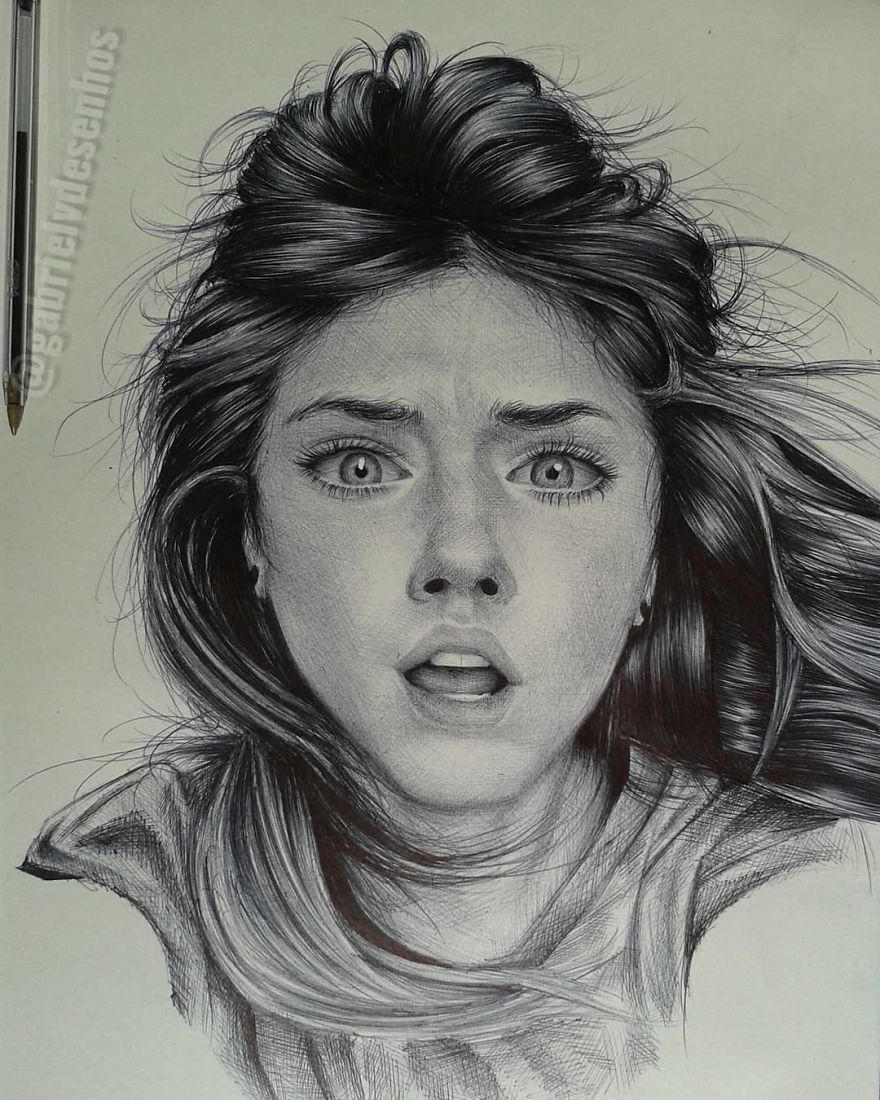 Brazilian Artist Draws Portraits With Only A Ballpoint Pen That Look Extremely Realistic Realistic Drawings Portrait Portrait Drawing