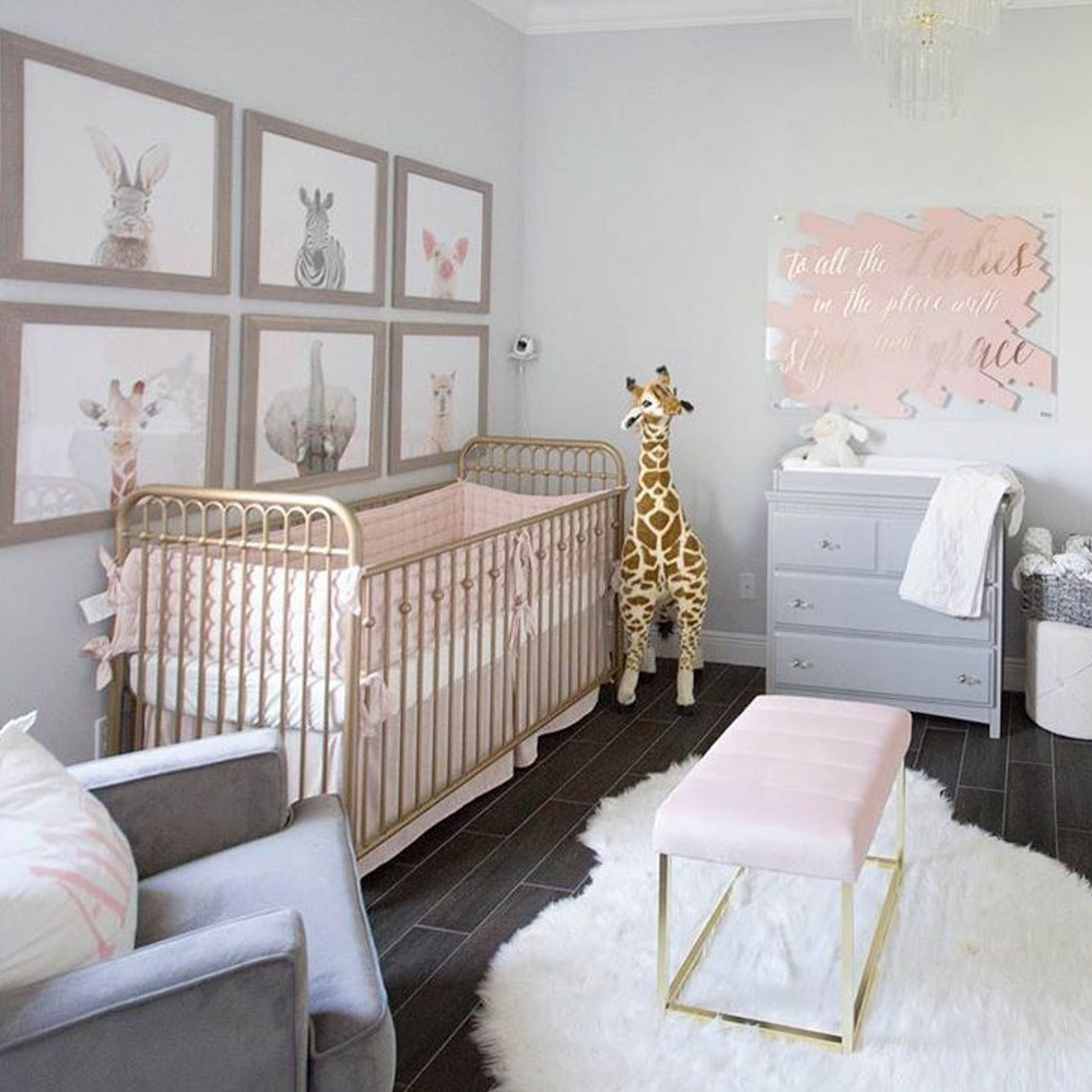 Pink gold and gray baby girl nursery