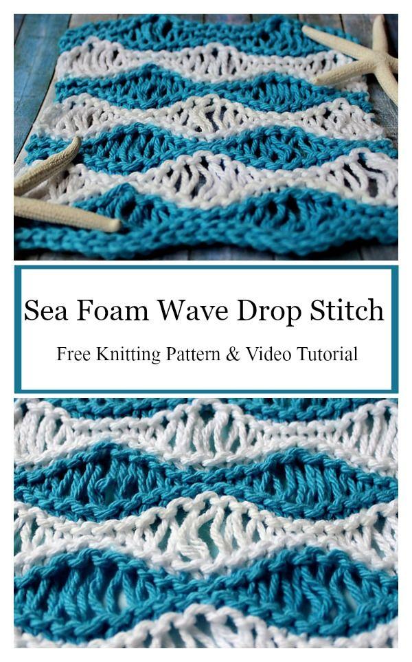 Sea Foam Wave Drop Stitch Free Knitting Pattern | Knitting ...