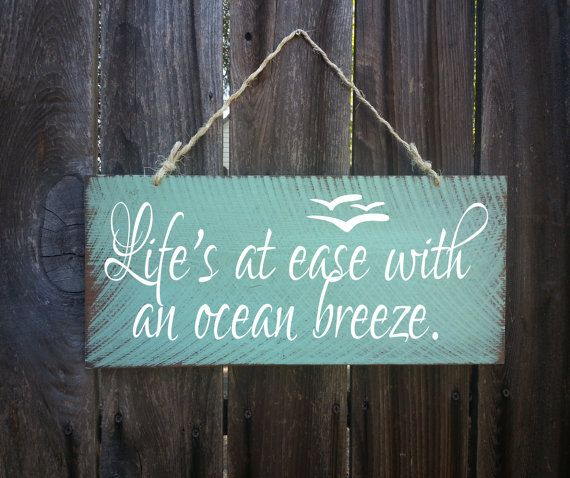 Life's At Ease With An Ocean Breeze Sign, Beach Decor, Ocean Theme, Nautical Theme, Beach Sign, Surfing Signs, Coastal decor, Beacg, 44 #mermaidsign