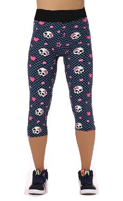 32c024faf54 Women Plus Size Capris Casual Dance Exercise Fitness Leggings Elastic Workout  High Waist Floral Print. Pattern  Funky Skull ...