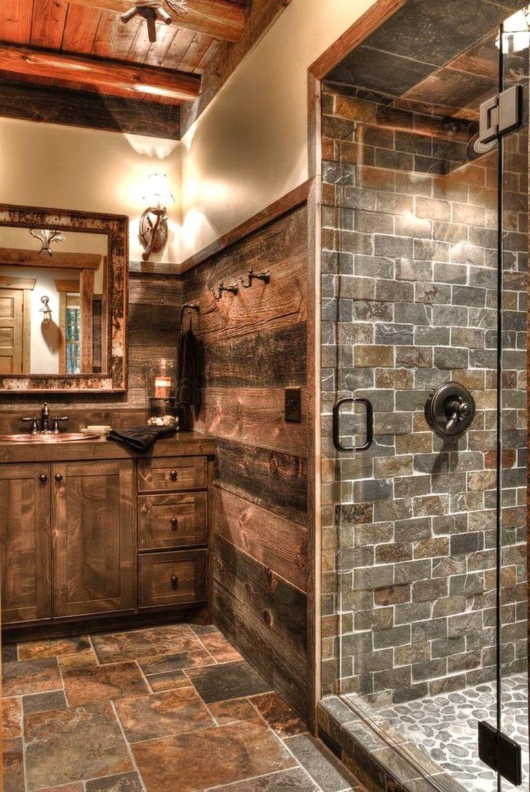Popular Farmhouse Shower Tile Ideas   Western bathroom ... on Rustic Farmhouse Bathroom Tile  id=75919