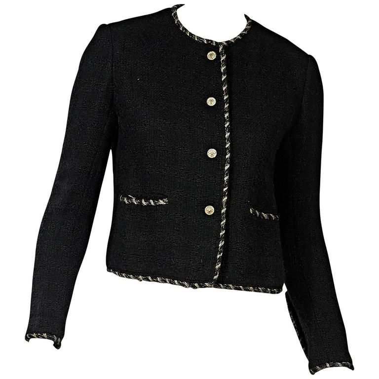 Black Vintage Chanel Wool Coat 1975-99