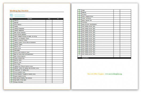 wedding checklist template word
