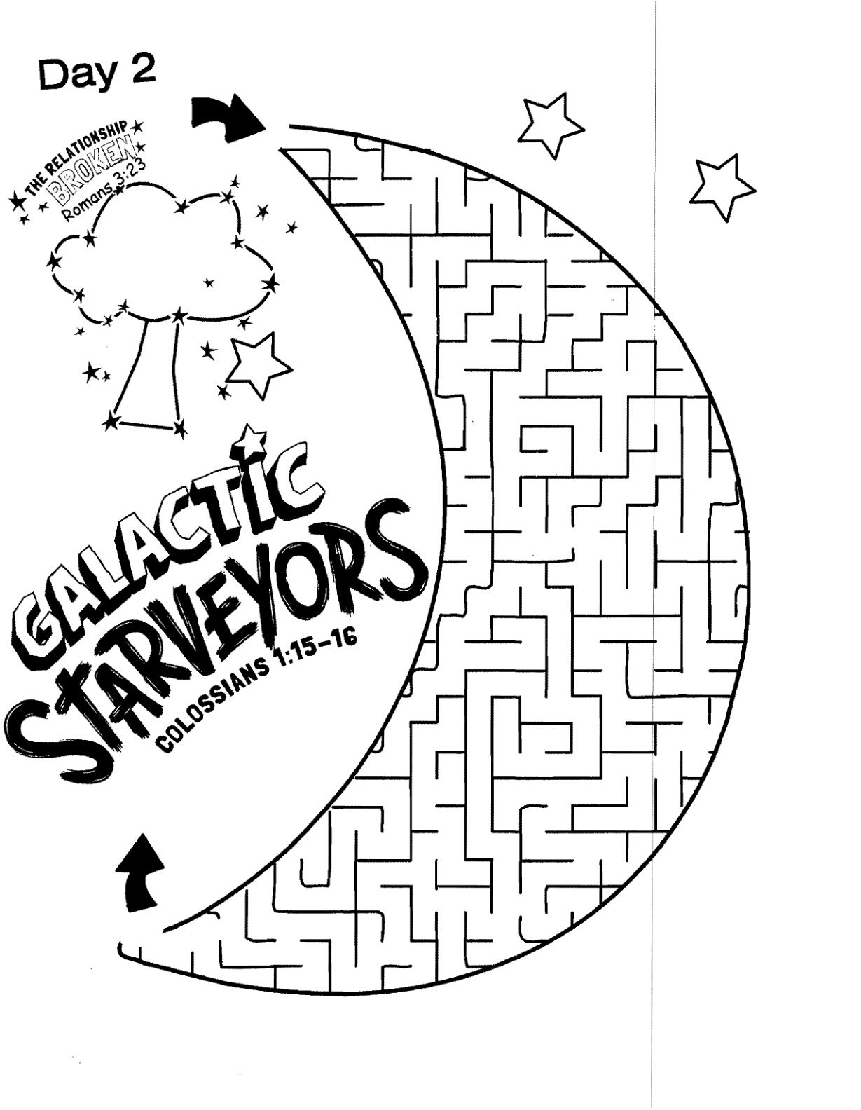 Galactic Starveyors Coloring Sheet VBS 2017- day 2