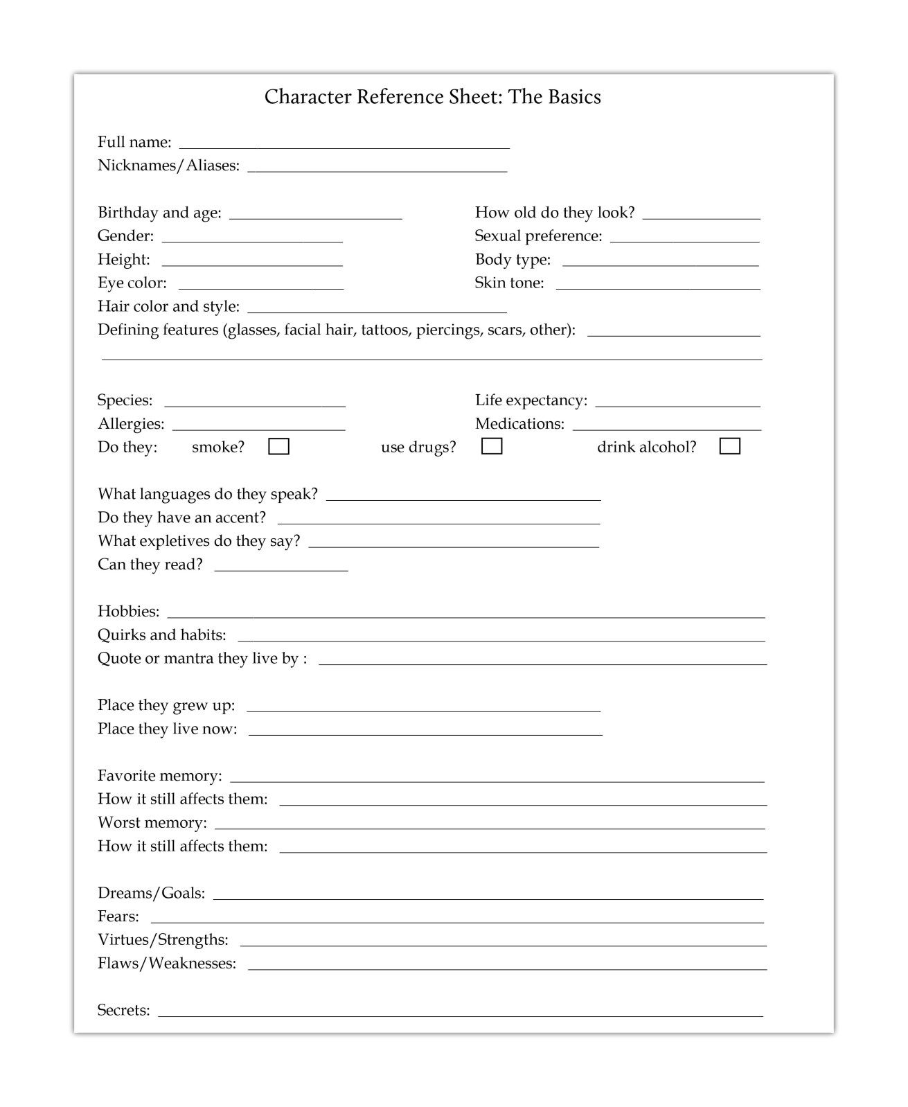 Free Printables To Help You Round Out Your Characters Crystal Mm Burton Character Bio Template Character Sheet Writing Writing A Bio