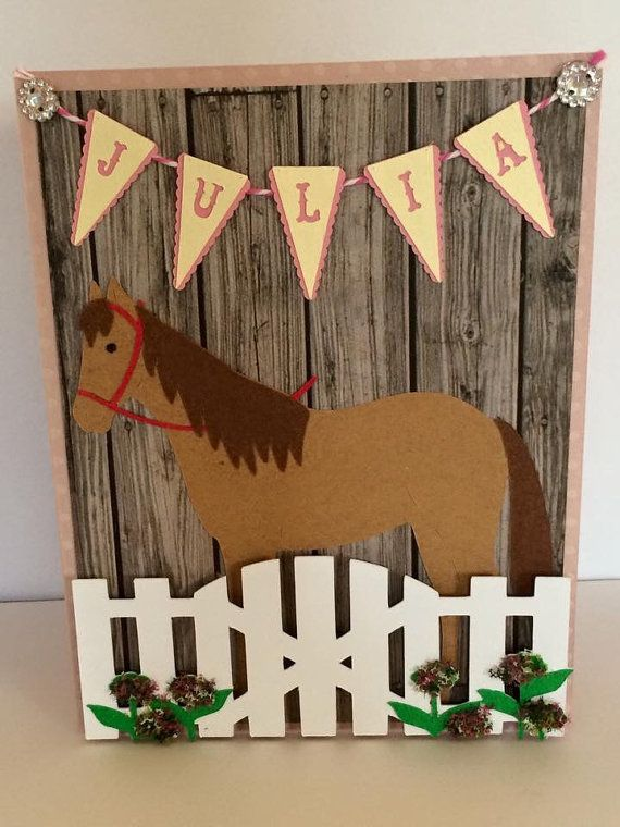 Horse Birthday Card by HFOLTZDESIGNS on Etsy