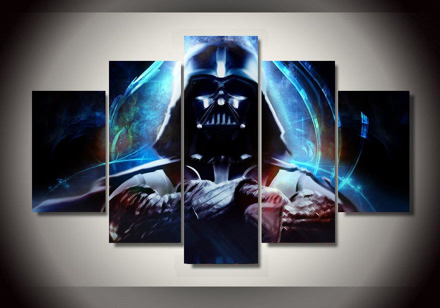 Framed printed star wars 5 piece picture painting wall art for Cadre multi photos mural