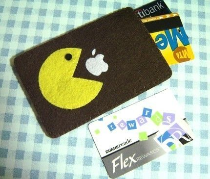 "I'd love this with a navy background! iPhone Case - Cell Phone Case - iPhone 4 Case - iPod Case - iPod Touch Case - Handmade iPhone Felt Case - "" Pacman "" Design. $16.00, via Etsy."