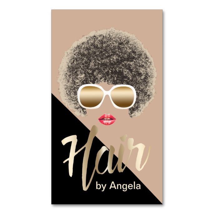 Hair stylist modern gold script afro hair business card gold hair stylist modern gold script natural hair double sided standard business cards pack of 100 make your own business card with this great design colourmoves