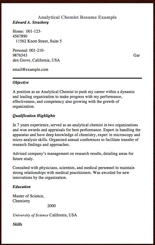 Here Is Analytical Chemist Resume You Can Check The Preview Here Or You Can Download It As Png Format Or C Resume Template Examples Best Resume Resume Examples