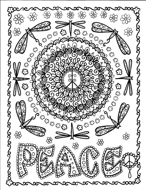 Coloring BOOK PeAcE Meditation Art To Color And By ChubbyMermaid