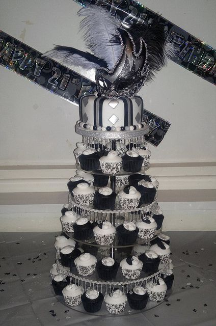 Black White And Silver Masquerade 21st Birthday Cake Cupcakes By Eloise Via Flickr