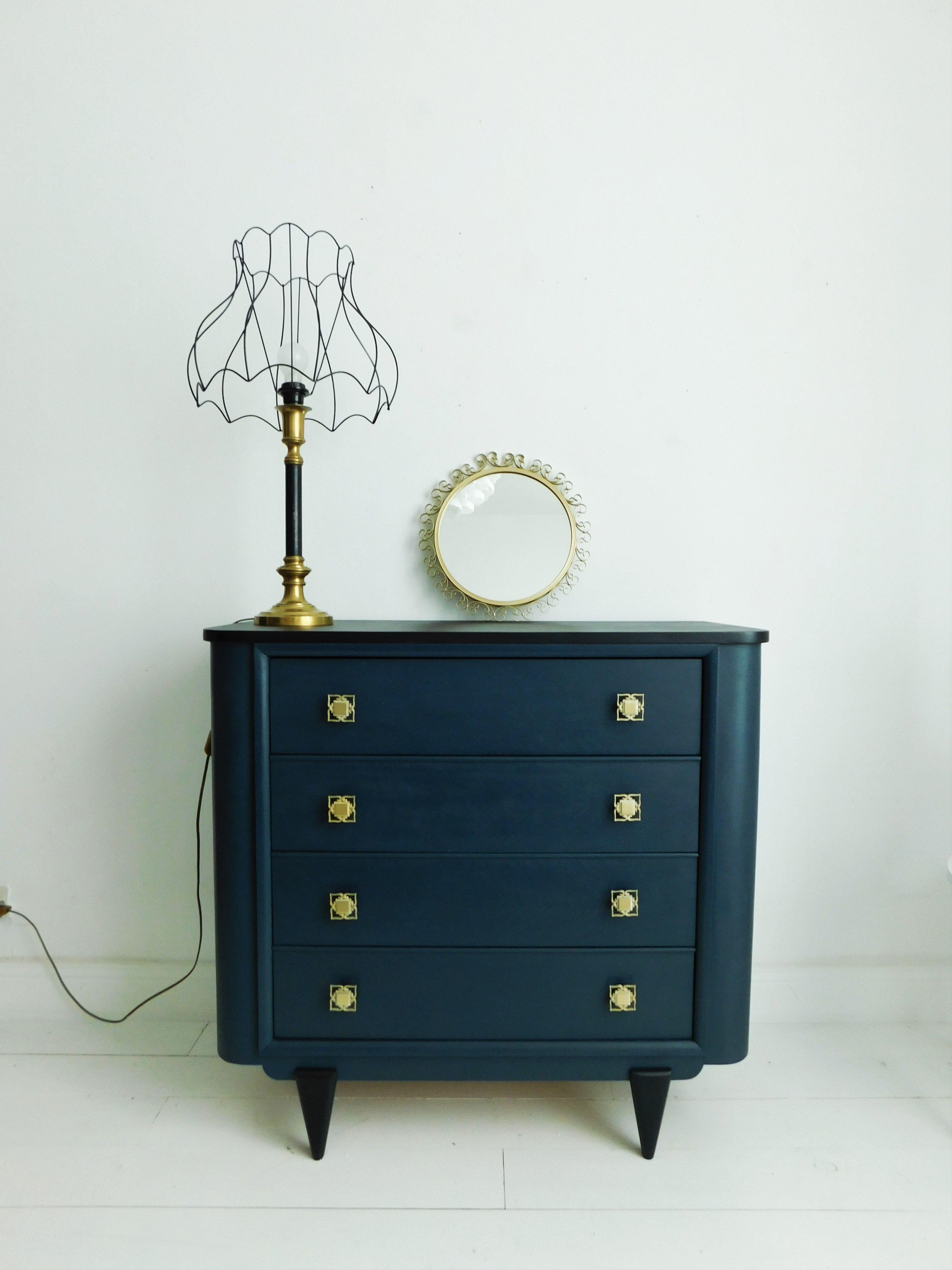 Commode Art Deco Revisit E Bleue Et Noir Chez Les