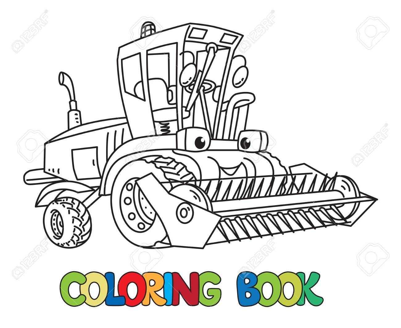 Lawn Mower Coloring Page For Kids Illustration Sponsored