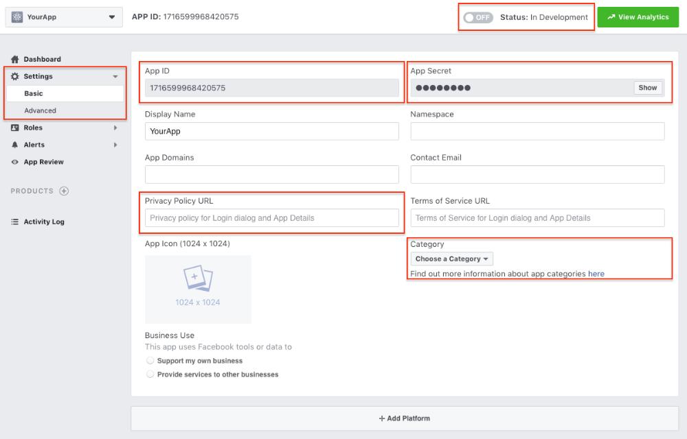 Create a Facebook App ID + App Secret AppMachine Help