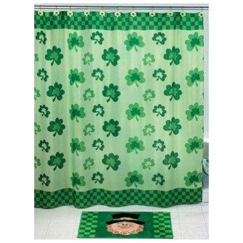 Amazon.com: Shamrock SHOWER CURTAIN St. Patricks Day saint patrick\'s ...