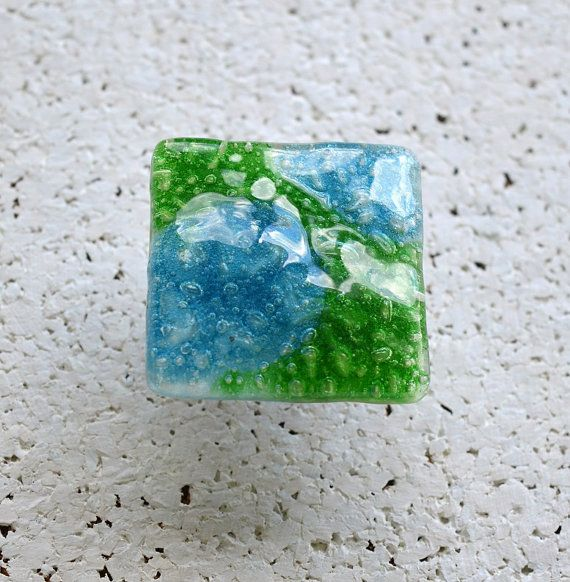 Green Cabinet Knob. Fused Glass Knob in Grass Green and Turquoise ...