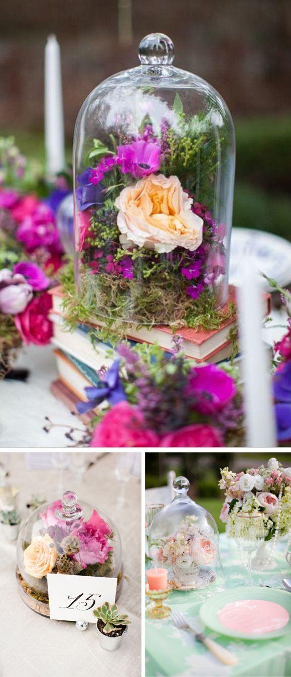 Decoracion de boda con campanas de cristal centros mesa - Mesa centro de cristal ...
