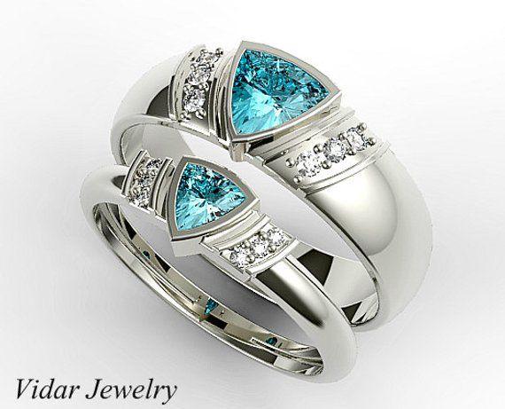 Aquamarine Wedding Band | Aquamarine Matching Ring Set His And Hers Aquamarine Wedding Bands