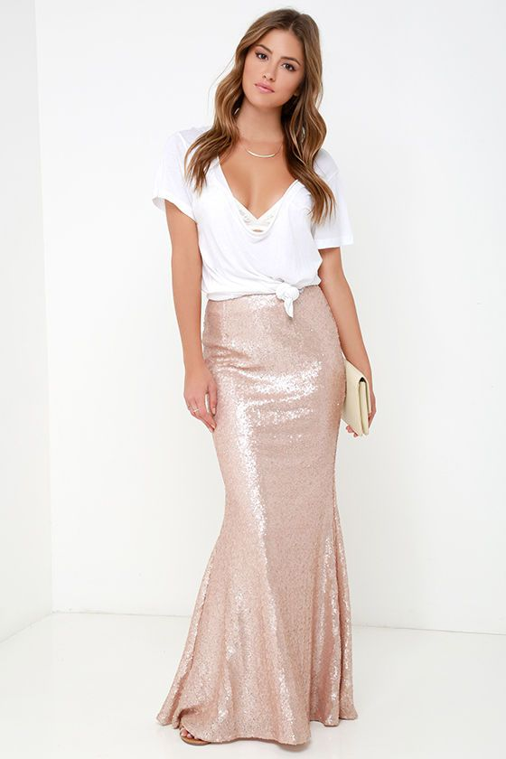 0ff4185b6 Kickin' Up Stardust Blush Sequin Maxi Skirt in 2019 | My Style ...