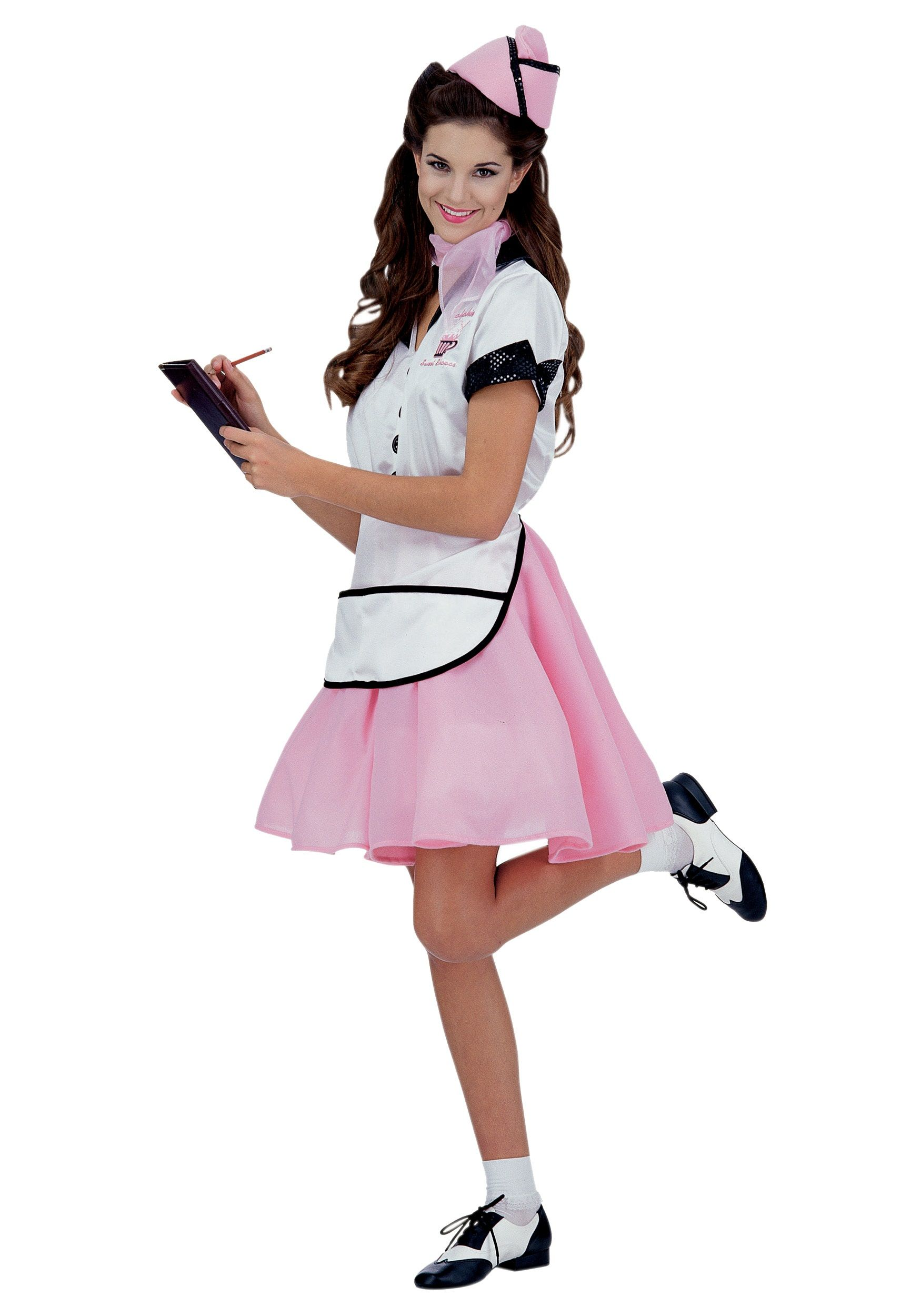 Womens Adult 50s Pink Waitress SODA POP GIRL Costume