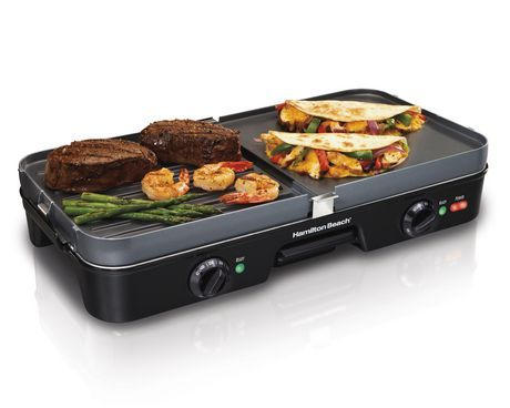 Hamilton Beach 3 In 1 Reversible Grill Griddle Black Cooking Appliances Indoor Grill Griddle Grill