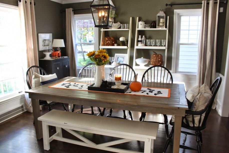 Pottery barn halloween decorations : Dining Table With Vase Flowers And Chairs Also Lamp And Rack Items And Window With Curtain