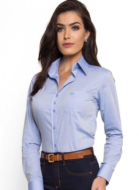 Camisa Social Feminina com Bolso Principessa Thaiza em 2019  750f084c4b102