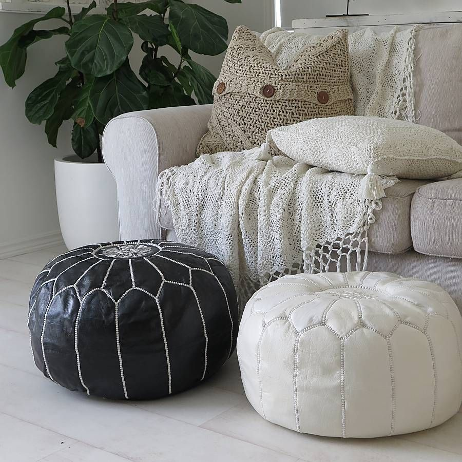 Pin By Stay Boho On Moroccan Poufs Moroccan Leather Pouf