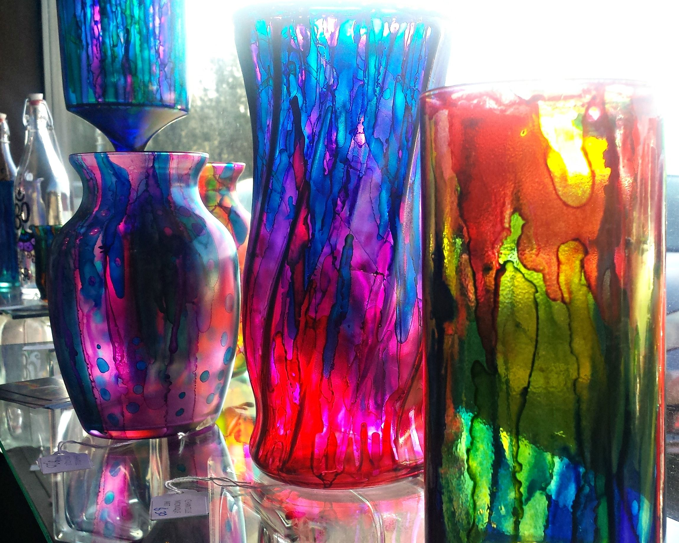 Alcohol ink vases glass painting glass art hand painted glass alcohol ink on alcohol ink for Pictures painted on glass