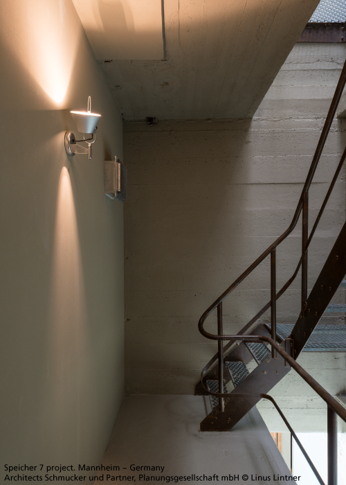We Love This Industrial Style Metal And Untreated Concrete Featuring Tolomeo Faretto Design Michele De Lucchi Wall Mounted Lamps Wall Lamp Design