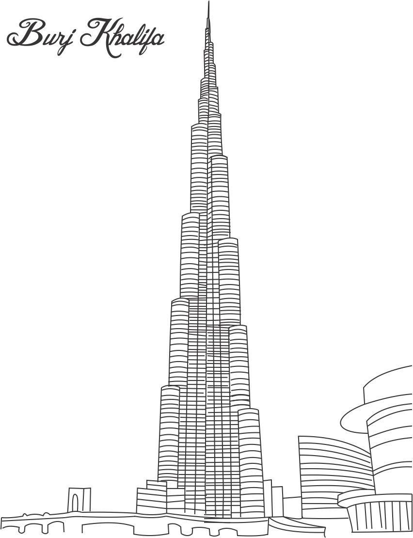 Burj Khalifa Coloring Page For Kids Pages Of Great Building