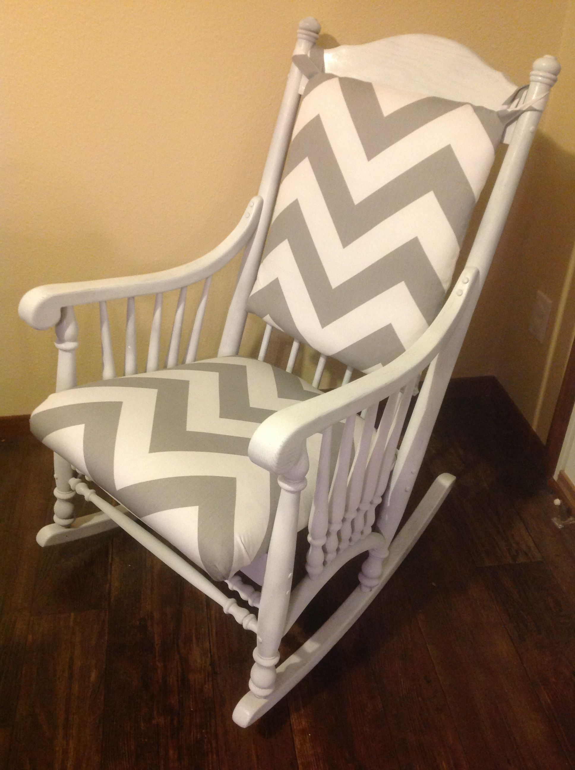 Just Refinished This Cute Rocking Chair With A White Wash Paint And Wide Gray Chevron Fabric Rockin Rocking Chair Nursery Rocking Chair Rocking Chair Makeover