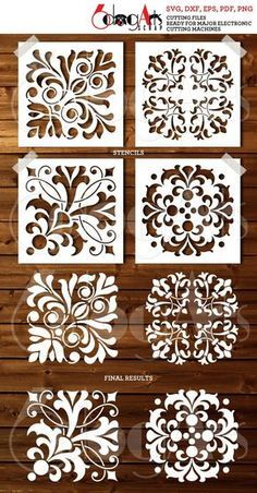 4 Tile Digital Stencil Template Designs - SVG DXF