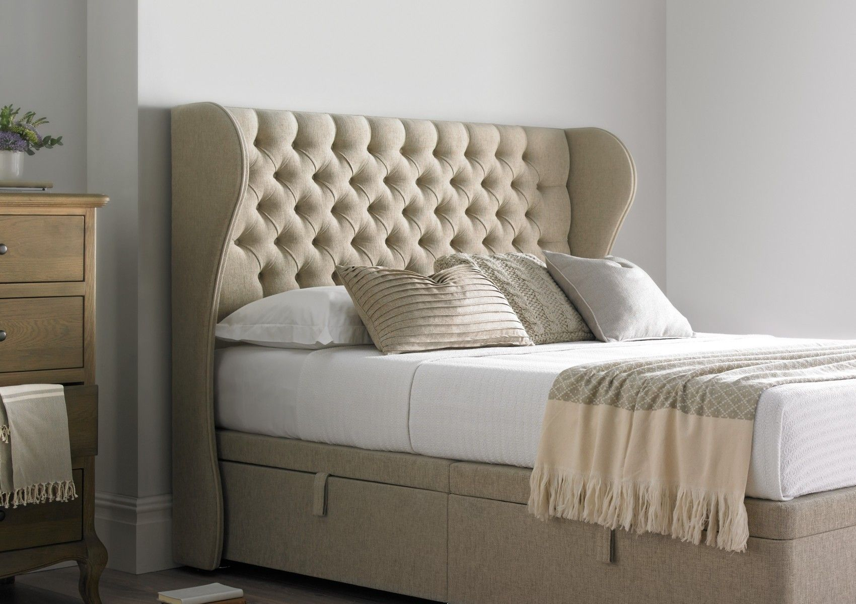 Highgate Mulberry Winged Floor Standing Upholstered Headboard  Upholstered Headboards