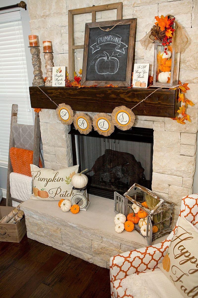 Fall Mantel Decorations, 3 Ways | Hoopla Events | Krista O'Byrne