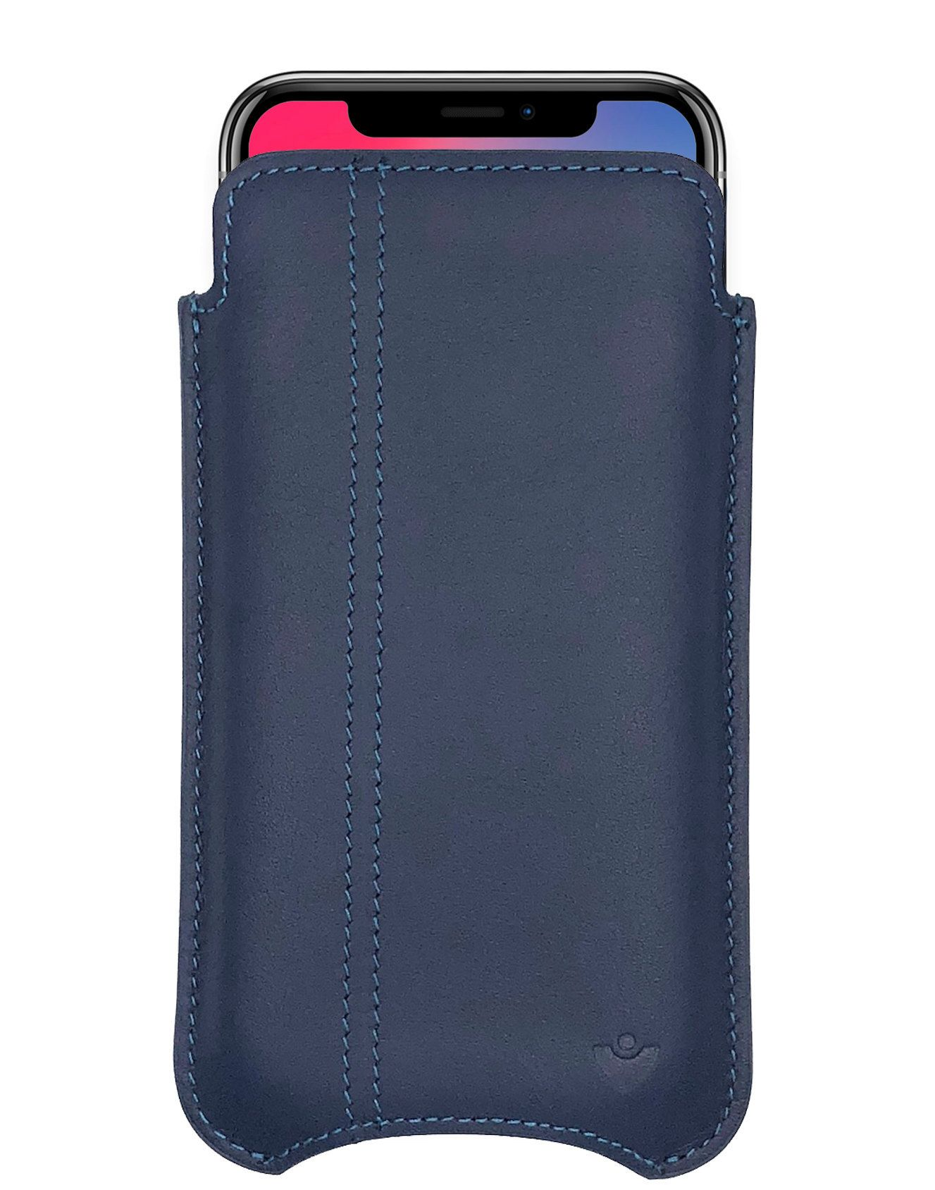 quality design 29d6b 945a7 iPhone X/Xs Case in Blue Genuine Napa Leather | Screen Cleaning ...