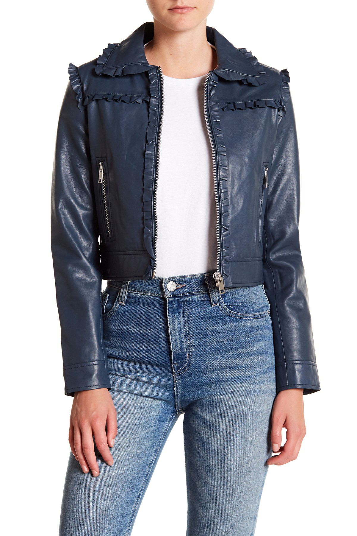 Walter Baker Jessie Ruffle Trimmed Leather Jacket (With
