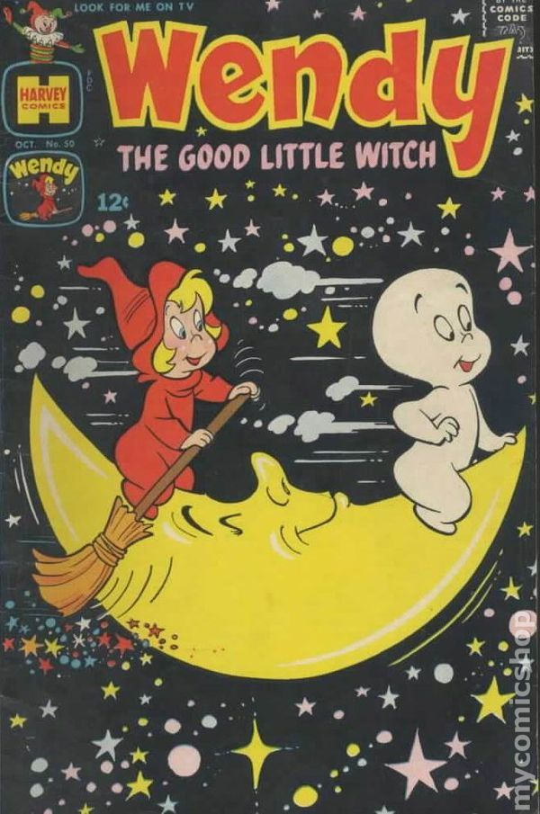 Wendy the Good Little Witch with Casper the Friendly Ghost #50 1968 vintage comic book cover. #vintagecartoon