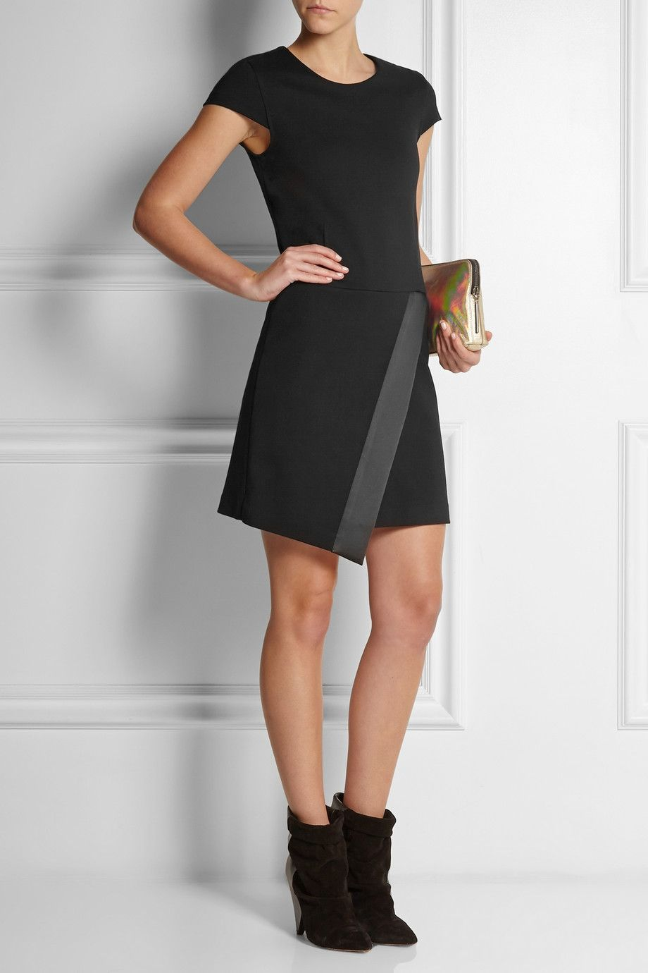 Karl lagerfeld nadya satintrimmed stretchjersey dress that