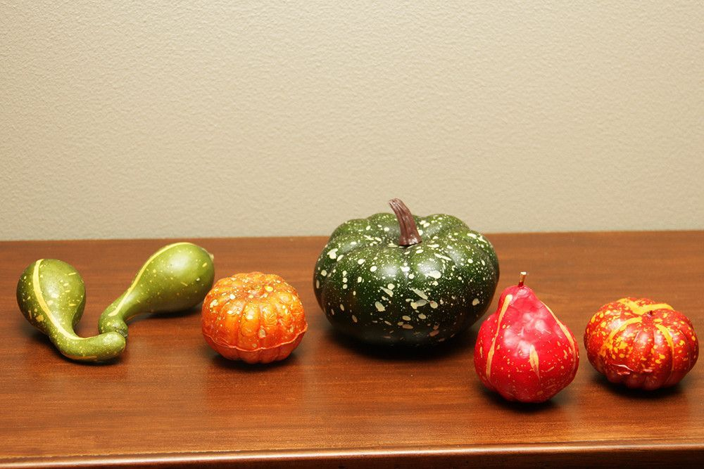 Set of 6 Thanksgiving Fall Harvest Multi-Colored Artificial Gourds and Pumpkins