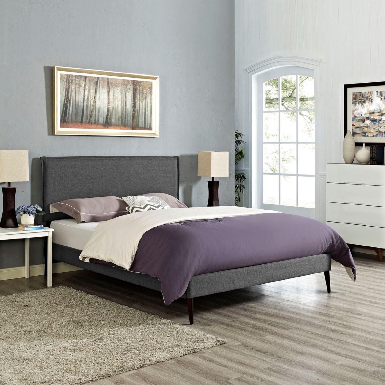Modway Furniture 5635 Gray Queen Fabric Platform Bed Frame