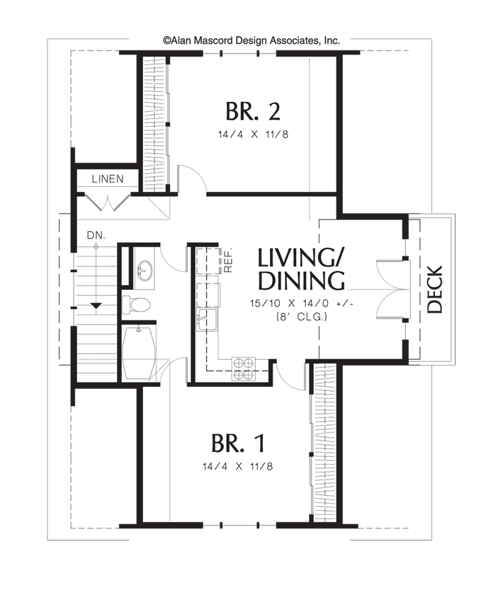 Two bedroom apartment above garage plan 5016 the athena for Double garage with room above plans