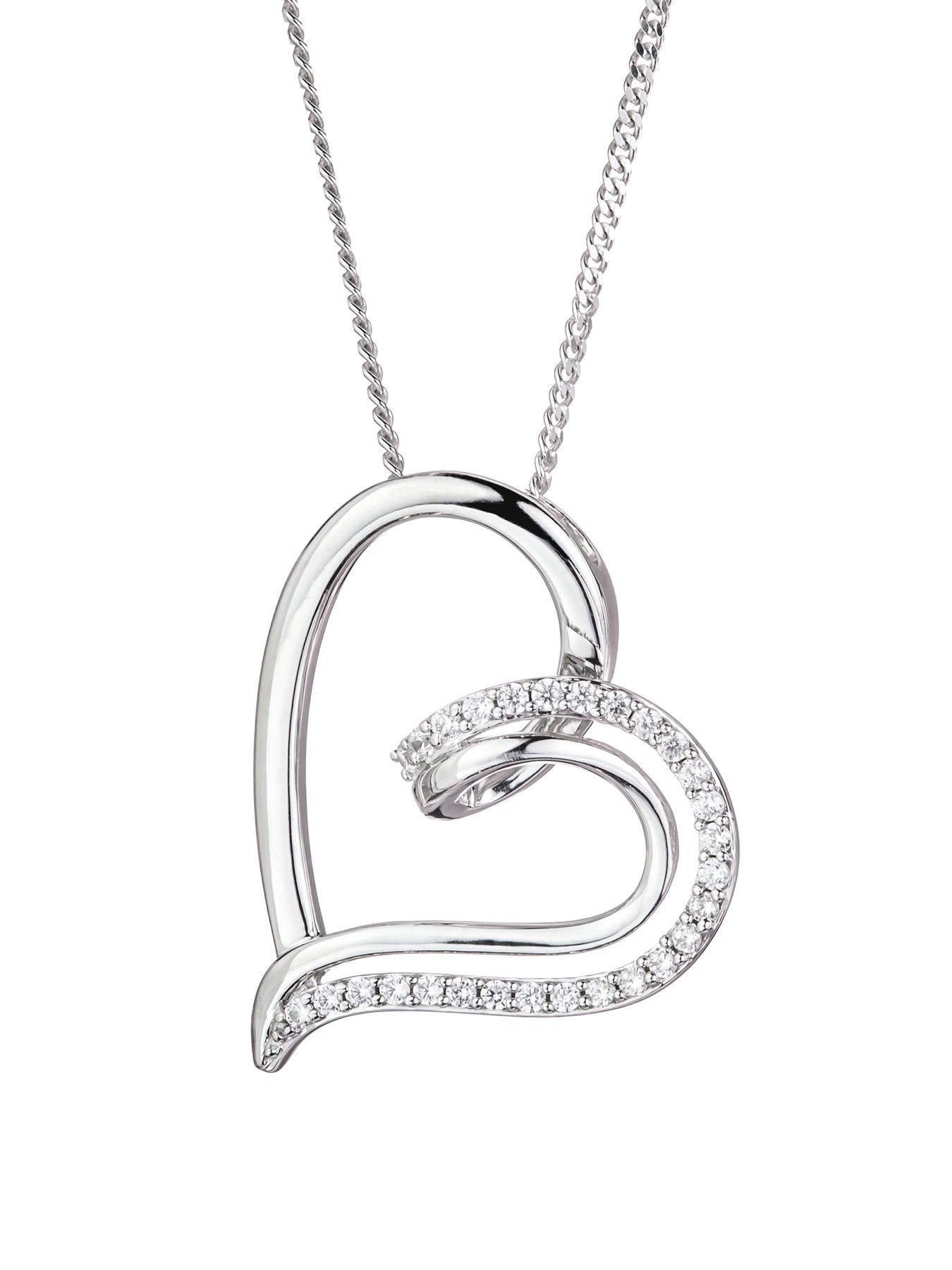 Diamond Heart Love Pendant 1//6ct 925 Sterling Silver