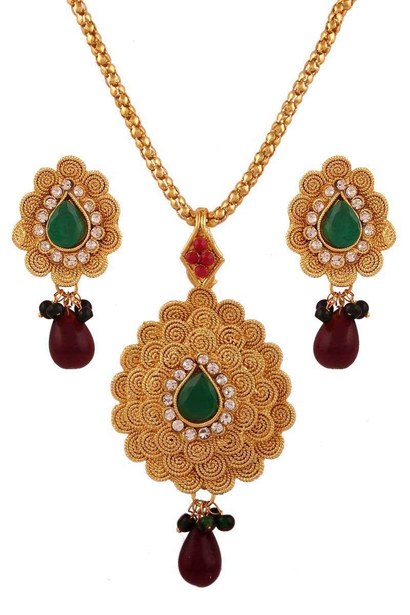 Green gold plated austrian diamond pendant set pendant sets