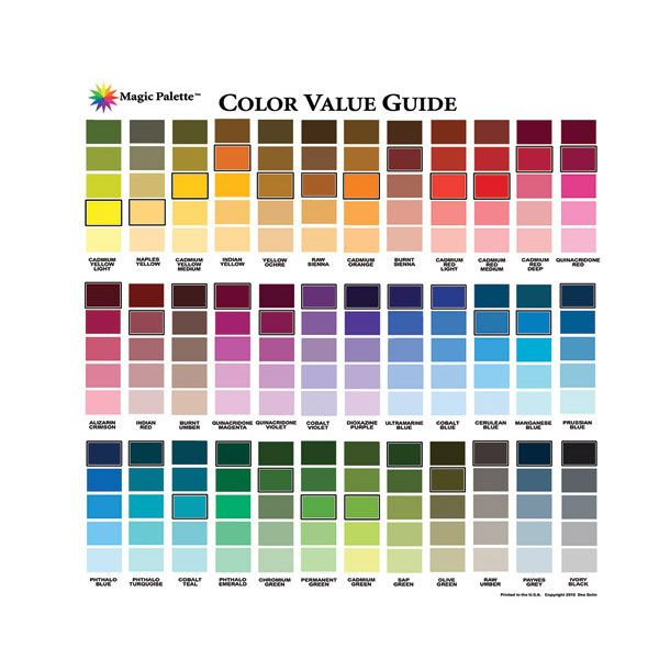 Magic Palette Artists Color Value Guide Color Charts In 2018