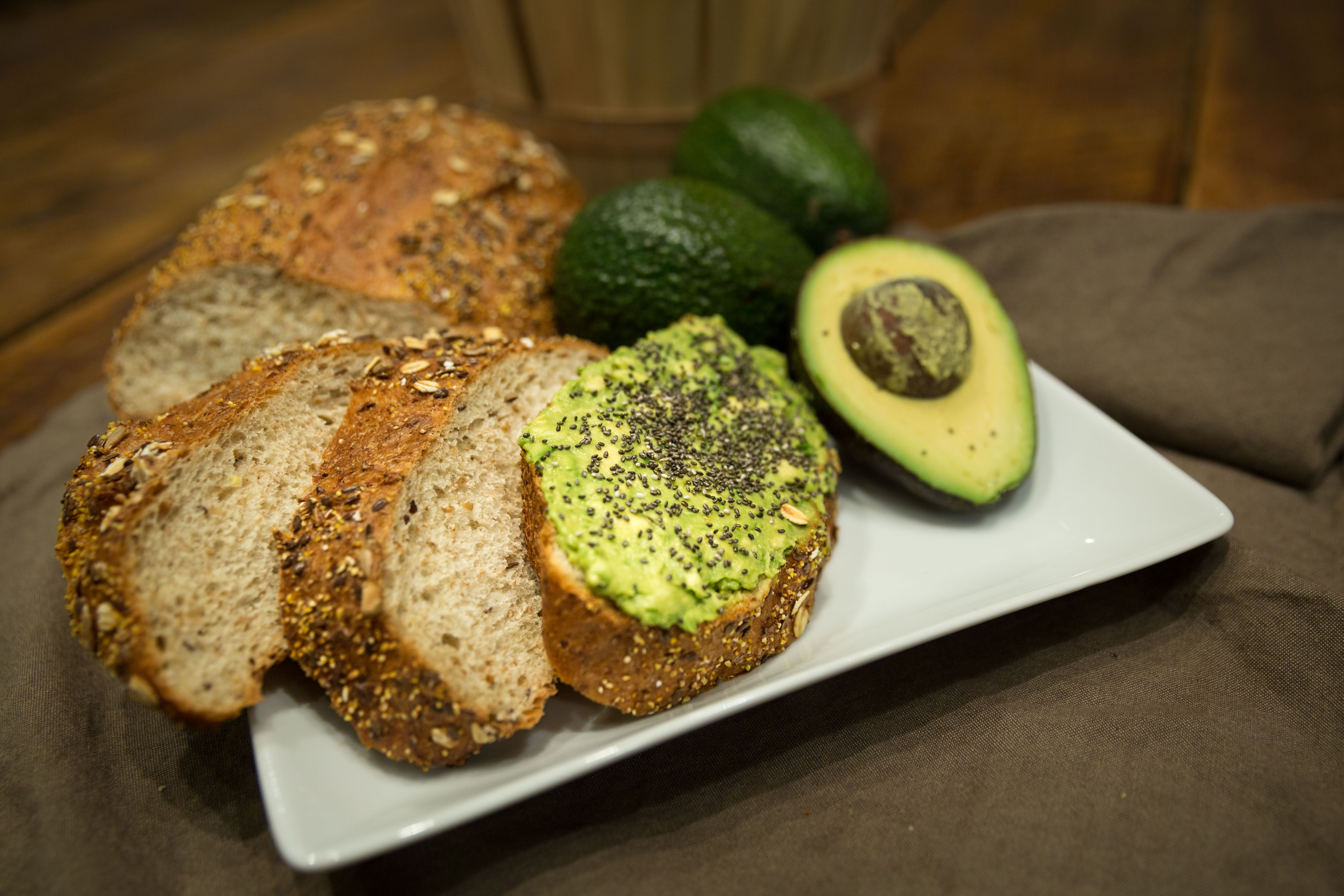 Fresh avocado and chia seeds on our Bakery's 5grain