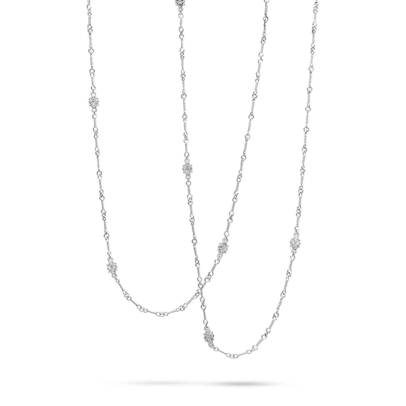 Judith Ripka Sterling Silver Estate Collection White Sapphire Chain