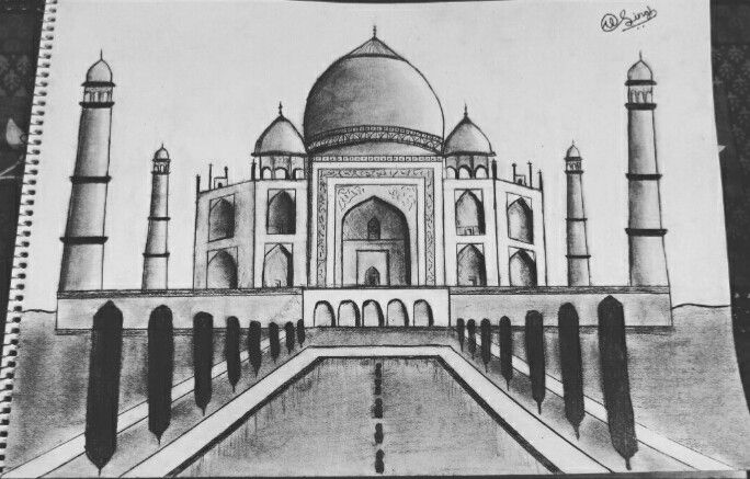 A Pencil Sketch Of Taj Mahal By Me This Is A Pencil Sketch Of Taj